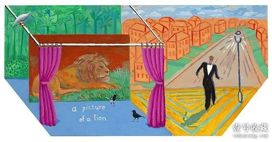 David Hockney, A Picture of a Lion, 2017, Acrylic on canvas, 48 × 96″(hexagonal) ? David Hockney, photograph by Richard Schmidt